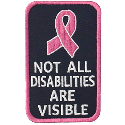 Not All Disabilities are Visible Vests/Harnesses Service Dog Emblem Embroidered Fastener Hook & Loop Patch - Pink