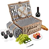 Wicker Picnic Basket Set | 4 Person Deluxe Vintage Style Woven Willow Picnic Hamper with Blanket | Ceramic Plates, Stainless Steel Silverware, Wine Glasses, S/P Shakers, Bottle Opener, Picnic Kit