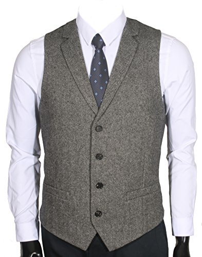 Ruth Boaz 2Pockets 4Buttons Wool Herringbone Tweed Tailored Collar Suit Vest product image