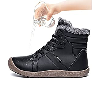 JIASUQI Mens Ankle Snow Boots Faux Fur Waterproof Casual Booties Black 15 M US