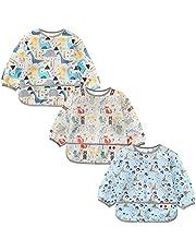 Jolik Large Baby Long Sleeve Bib, Set of 3 Toddler Waterproof Bibs Smock with Pockets (2-4 Years)