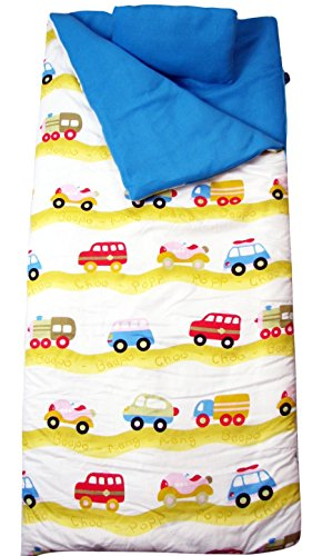 SoHo kids Cars children sleeping slumber bag with pillow and carrying case lightweight foldable for sleep ()
