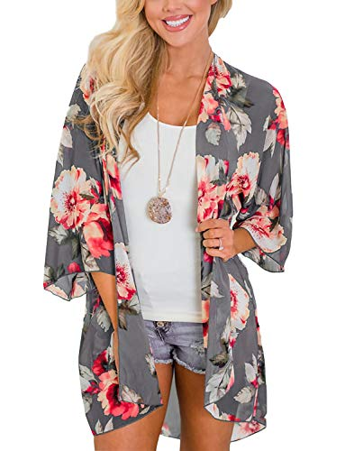 Women's Beach Cover Up Open Front Floral Chiffon Summer Swimwear Thin Cardigan Blouse Tops (Gray,2XL)