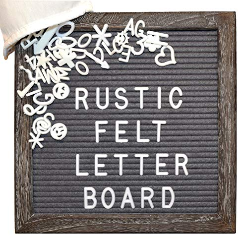 Heartfelt Rustic Felt Letter Board | 10x10 Chic Oak Frame, 521 Letters/Emojis in 2 Sizes, Bag | Perfect for Pregnancy Announcements, Gender Reveals, Weddings, Home Decor, Farmhouse Decor, Gifts
