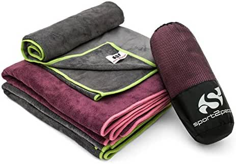 Microfiber Towel - Yoga Mat and Gym Quick Dry and Extremely Absorbent Sports Towel by Sport2People - for Fitness Camping Backpacking Travel Beach - 2 Sizes & Colors