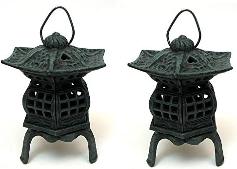 IWGAC Cast Iron Footed Pagoda Lantern Home Patio Light Statue Decor Set of 2