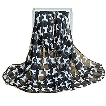 Women Fashion Oversize Dog Print Soft Scarves Oblong Shawl for Dog Lovers Black
