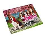 I Love Basset Hound Dogs in a Cart Art Portrait Print Woven Throw Sherpa Plush Fleece Blanket (50x60 Plush)