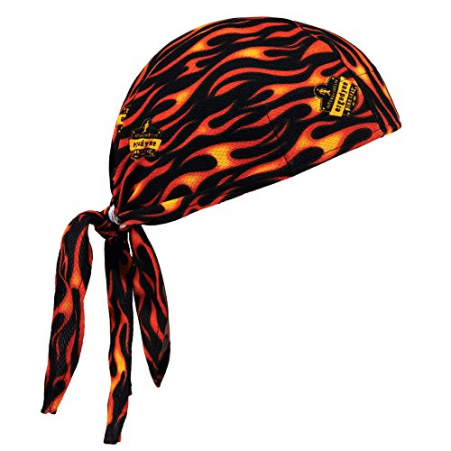 Ergodyne Chill-Its 6615 Absorptive Moisture-Wicking Dew Rag, Flames