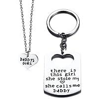 Esta chica robó mi corazón. Llamó a mi papá. Llavero. Juego de regalo especial para el día del padre. Conjunto de accesorios y collar.
