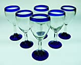 Mexican Glass, Wine, Hand Blown, Blue Rim (Set of 6) 14 Oz