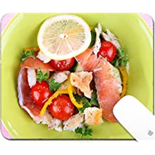 Luxlady Gaming Mousepad 9.25in X 7.25in IMAGE: 34807566 Appetizing fish salad with vegetables on plate isolated on white