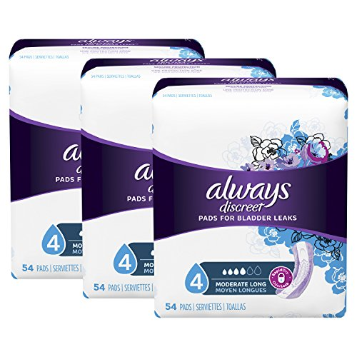 Always Discreet Incontinence Pads for Women, Moderate Absorbency, Long Length, 54 Count - Pack of 3 (162 Count Total) (Packaging May Vary)]()