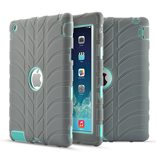 - iPad 4 Case,iPad 3 Case,iPad 2 Case, UZER Tire Pattern Shockproof Anti-Slip Silicone High Impact Resistant Hybrid Three Layer Hard PC+Silicone Armor Protective Case Cover for iPad 2/3/4