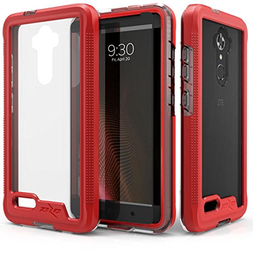 Cell Accessories For Less (TM) ZTE Max Blue 4G LTE - Zizo ION Triple Layered Case Cover w/ Tempered Glass Screen Protector - Red/Clear Bundle (Stylus & Micro Cleaning Cloth) - By (4g Lte Accessories)