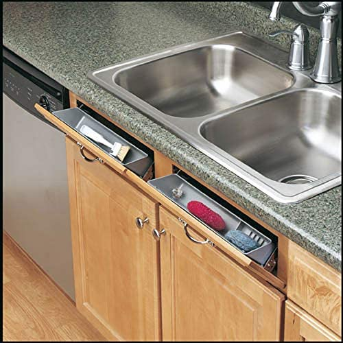 """513SNltlWZL. AC Rev-A-Shelf 6572-11-11-52 11-Inch Polymer Plastic Kitchen Sink Front Tip-Out Accessory Storage Trays, White    Rev-A-Shelf's most popular Sink Front Tip-Out Tray Set, the 6572 Series includes one conventional open tray, one accessory tray with ring holder and soap dish, and 2 pairs of Self-Holding hinges. The 6572 Series is made of high-impact polystyrene and is available in 11"""" or 14"""" sizes."""