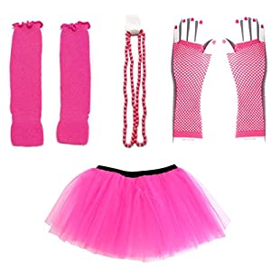 Dreamdanceworks 80s Fancy Costume Set – Tutu & Leg Warmers & Fishnet Gloves & Beads