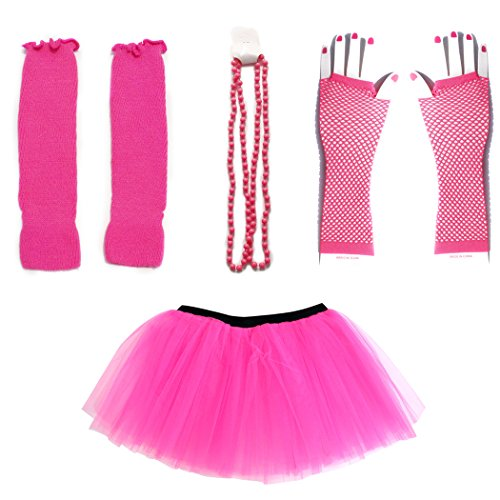 Dreamdanceworks 80s Fancy Costume Set - TUTU & LEG WARMERS & FISHNET GLOVES & BEADS (Neon Pink)