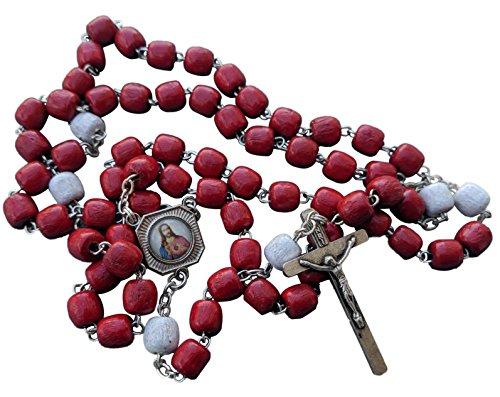 MedjugorjeOnlineShop Precious Blood of Jesus Rosary Red Wooden Wood 7 mm Beads 20 inches + Gift Bag (Rosario De La Preciosa Sangre De Cristo)