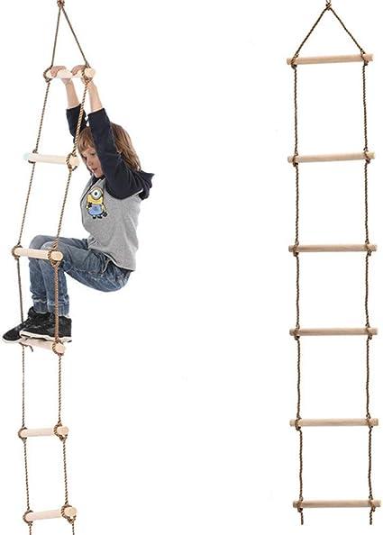 ZJJ Escalera de Cuerda de Escalada para niños de 6 peldaños ...