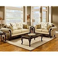 Furniture of America Velda 2-Piece European Style Sofa Set, Desert Sand