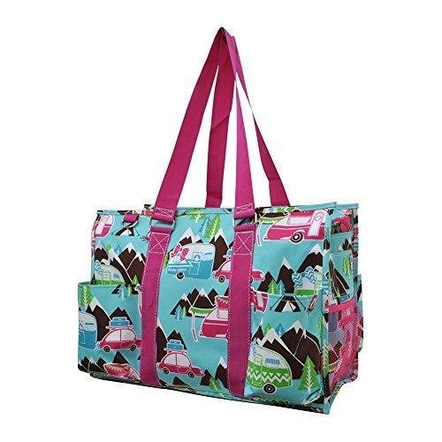 Happy Camper Print NGIL Zippered Caddy Organizer Tote Bag