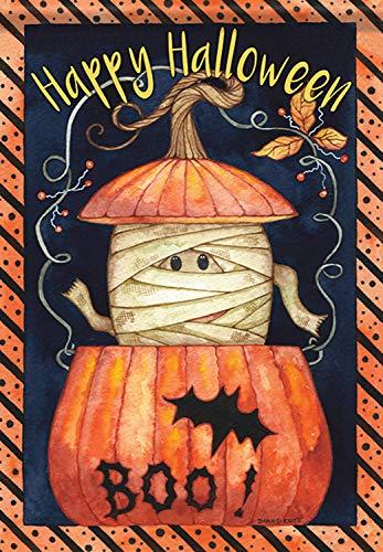 Peek-A-Boo Mummy Halloween House Flag Happy Pumpkin Bat Double Sided 28