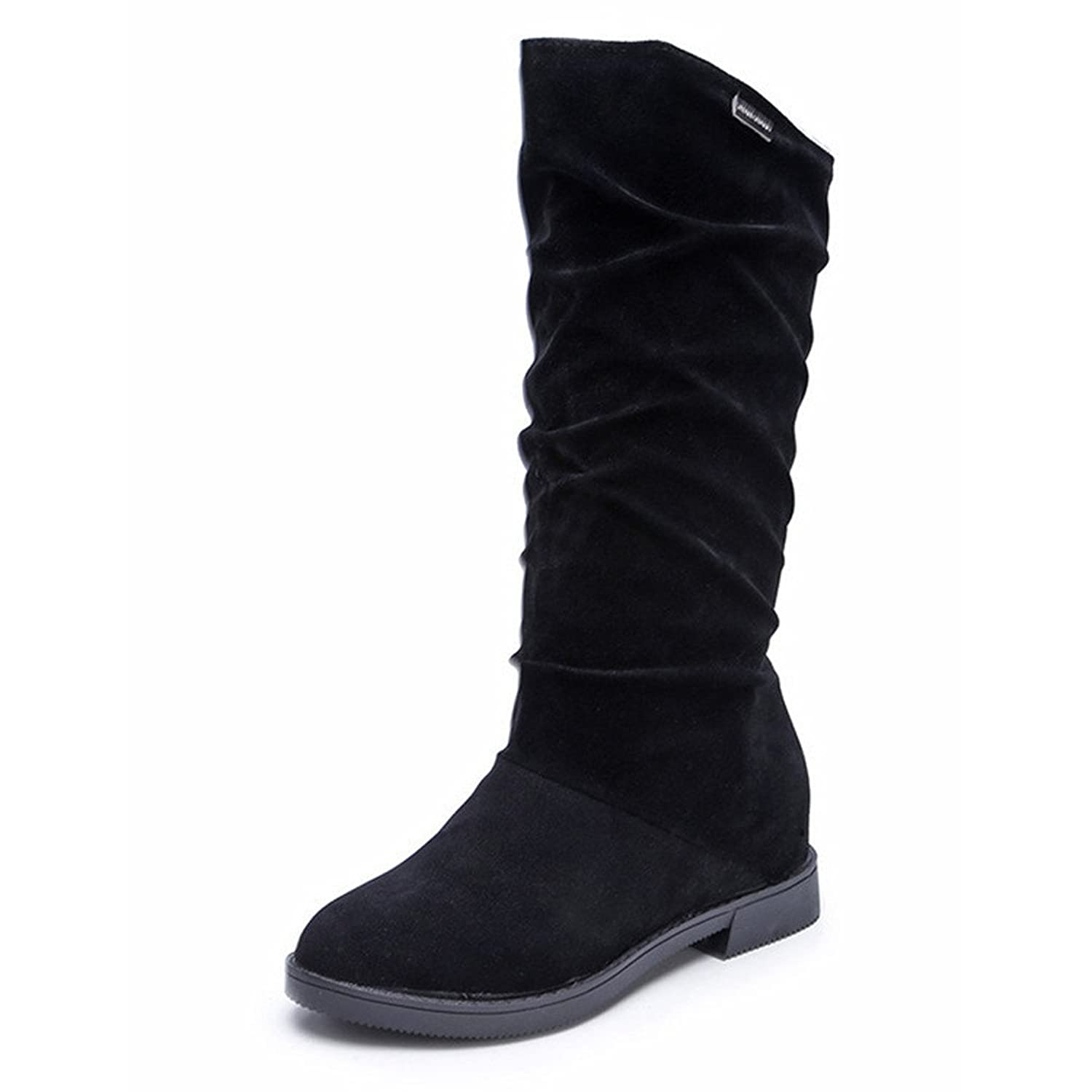Women's Trendy Round Toe Mid Calf Quilted Low Heel Warm Snow Boots