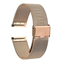 TRUMiRR 16mm Watchband Mesh Stainless Steel Metal Watch Band Strap Bracelet for Motorola Moto 360 2 (2nd Gen 42mm Women's 2015), with Tool and Spring Bar, Rose Gold