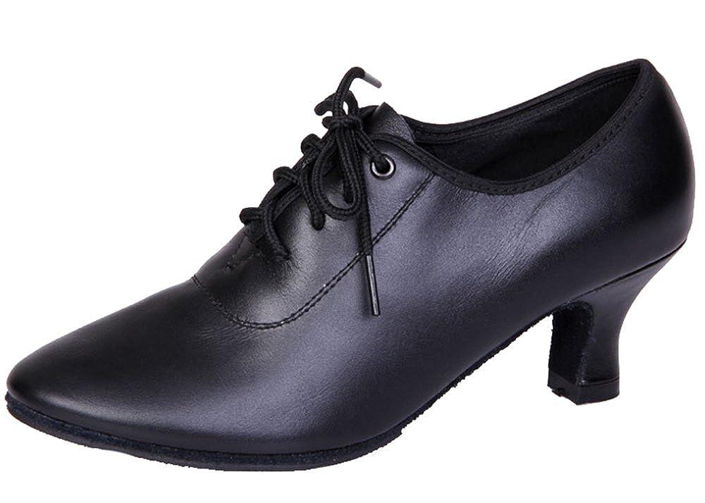 Dayiss Damen Tanzschuhe Leder Latein Leder Tanzschuhe Standard & Latein mit Absatz Trainer Schuhe Schwarz mit Absatz 5.5cm ac7a19