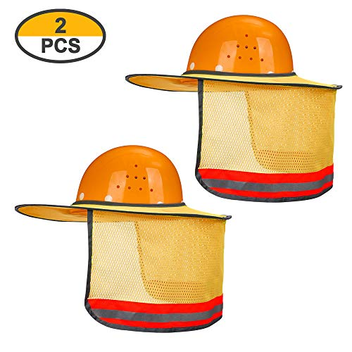 2 Pack Hard Hat Sun Neck Shield Full Brim Sunshade for Hard Hats- High Visibility, Reflective, Full Brim Mesh Sun Shade Protector (Hard Hat Not Included) (Orange) by Erlvery DaMain