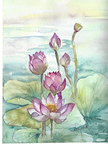 Lotus Garden Blank Note Cards: 6 Blank Artistic Summer Floral All Occasion Watercolor Cards, With Envelopes - Summer Lotus