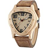 Wooden Watch Triangle Shape Handmade Natural Wood Genuine Leather Band Japanese Quartz Movement Watch for Men Father's Day Gift (Brown)