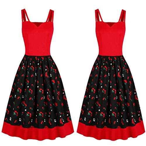 Guo Nuoen Fashion Women Sleeveless Vintage Dress Casual Summer High Waist Floral Printed Camis Dresses Red]()