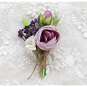 MOJUN Tea-Rose Prom Boutonniere Corsage Brooch Wedding Flower for Prom Party Wedding, Pack of 2, Purple 93