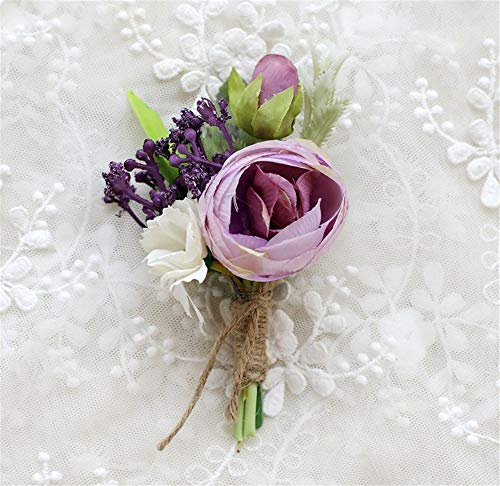 MOJUN Tea-Rose Prom Boutonniere Corsage Brooch Wedding Flower for Prom Party Wedding, Pack of 2, - Boutonniere Purple