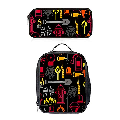 SARA NELL Firefighting Items Fire Lunch Bag&Pencil case Set with Padded Straps for Boys Girls