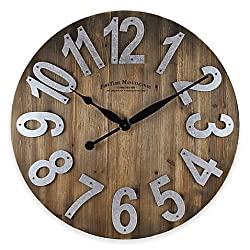 Wall Clock Wood Face Design And Faux-galvanized Numbers And Black Arms