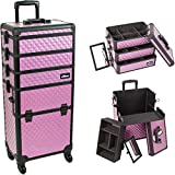 Sunrise I3361DMPLB Purple Diamond 4 Wheels Professional Rolling Aluminum Cosmetic Makeup Craft Storage Organizer Case and Stackable Trays with Dividers