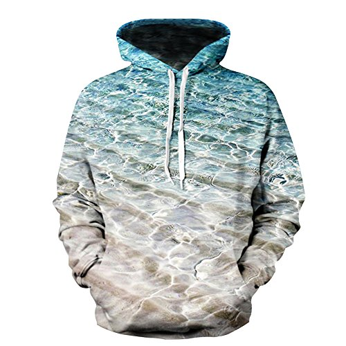 Unisex Digital 3D Animal Beach Sea Print Pullover Hoodie Sweatshirt (M) (Beach Sweatshirt)