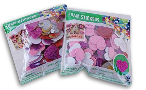 Glittery Hearts 3D Foam Stickers Set - 4.5 Ounces