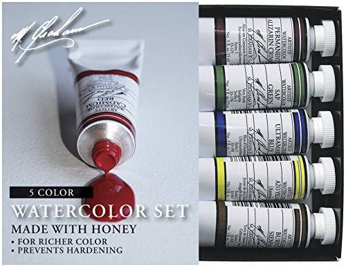 M. Graham 1/2-Ounce Tube Watercolor Paint Basic 5-Color Set
