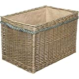 Red Hamper Große Delux Rechteckige Sackleinen gefüttert Kaminholzkorb Weide Antique Wash Finish Full Zuckerrohr Seil behandelt