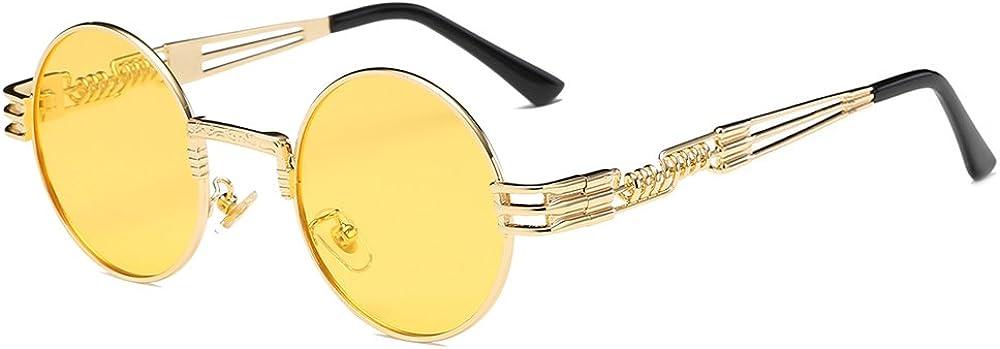 BOZEVON Retro Steampunk Style Inspired Round Metal Circle Sunglasses for Women /& Men