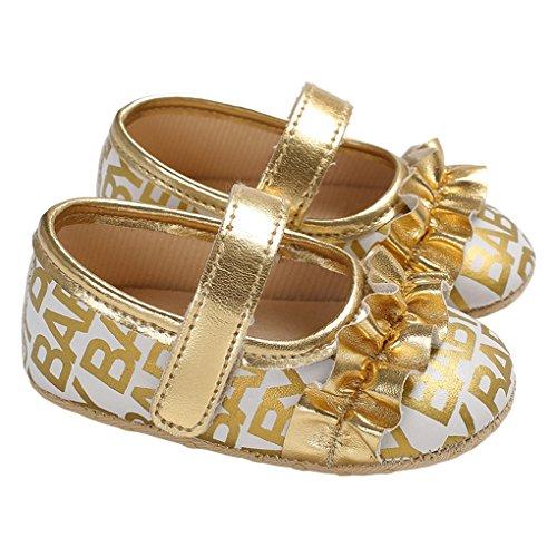lakiolins Baby Girls Ruffled Mary Jane Flats Princess Dress Shoes Crib Shoes Crib Shoes Golden Size L (Princess Ruffled)