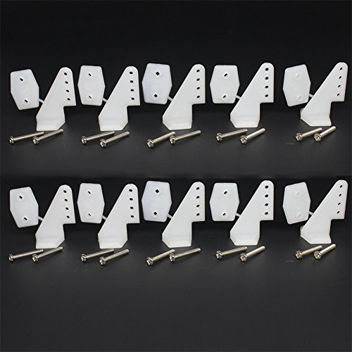 10 Sets Nylon Standard Control Horns 17.5x26 mm 4 holes With self tapping Screws For RC Airplane Parts KT Model Replacement
