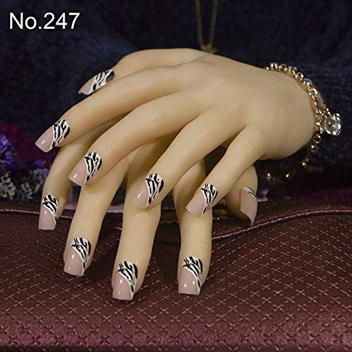 Almond 247 (MTEAFD 24Pcs/Set Cute Acrylic Full Cover False Nails Square Middle-Long Size Lady Bride Fake French Nail Art Tips For Finger Design 247)