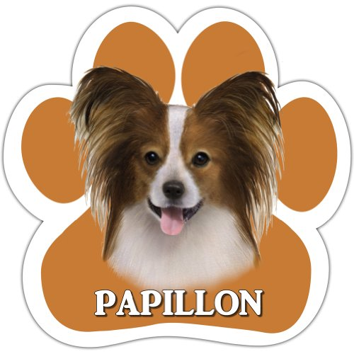 Papillion Car Magnet With Unique Paw Shaped Design Measures 5.2 by 5.2 Inches Covered In UV Gloss For Weather Protection]()