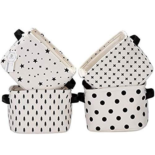 Sea Team Foldable Mini Square New Black and White Theme 100% Natural Linen & Cotton Fabric Storage Bins Storage Baskets Organizers for Shelves & Desks - Set of 4 (Black) -
