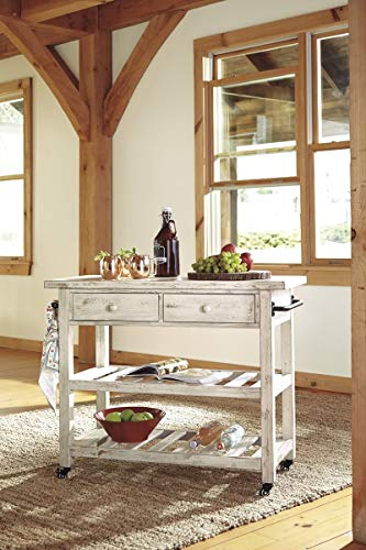 Ashley Furniture Signature Design – Marlijo Bar Cart – Rustic Style – 2 Drawer with Casters – White Wash Finish For Sale